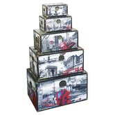 5 Piece London City Scene Storage Box Set