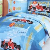 F1 4 Piece Twin Junior Duvet Cover Bedding Set in Blue