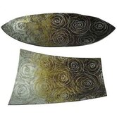 Glass Golden Orbit Tray (Set of 2)
