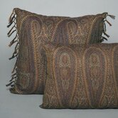 Tear Drop Paisley Wool Toss Pillow with Hand Knotted Fringe