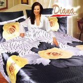 Diana 6 Piece Queen Duvet Cover Bedding Set in Yellow Rose