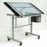 Vision Station Glass Drafting Table with Metal Support Bars