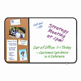 Self-Stick Cork Bulletin and Dry Erase Board, 36 x 22, White, Black Frame
