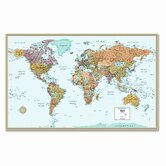 M-Series Full-Color Laminated World Wall Map