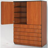 Illusions 84&quot; H Shelf and Drawer Cabinet with Four Adjustable Shelves
