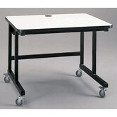Mobile Computer Table with J-Trough Wire Management