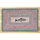 Green/Burgundy Fish Novelty Rug