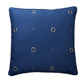 Textured Grommeted Navy Cotton Gold Grommets Pillow