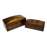 Two Piece Wooden Treasure Chest Set with Lined Interior in Brown
