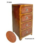 Wooden Cabinet with Four Drawers and Scoop Handle