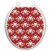 Classic Toilet Seat Applique with Queen Ann's Lace Design Red And Gold