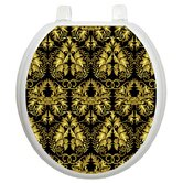 Toilet Seat Applique with Rococo Black and Gold Design