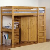 Rimini High Sleeper Bed with Corner Wardrobe, Shelves and Beside Table