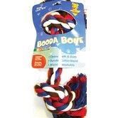 Two Knot Rope Bone Dog Toy in Red, White and Blue