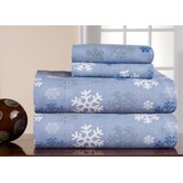 Heavy Weight Printed Flannel Sheet Set in Snow Flakes