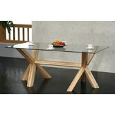 Rectangular Solid Oak Pedestal Glass Table
