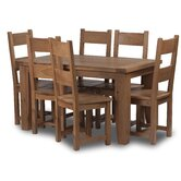 Calgary 7 Piece Solid Oak Fixed top Dining Set with full timber dining chair