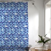Tiles Vinyl Shower Curtain in Blue