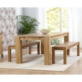 Madrid Chunky Solid Oak Dining Table with Two Barcelona Dining Benches