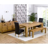 Madrid Chunky Solid Oak Dining Table with Roma Chairs and Barcelona Dining Bench