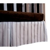 Blue with Chocolate Stripes Box Pleat Crib Skirt