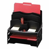 Organizer w/2 Letter Trays, 9 Compartments, 13&quot;x10&quot;x8-5/8, BK