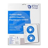 CD/DVD Labels, Permanent Adhesive, 20 per Pack, Gloss White