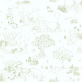 Winnie The Pooh - Toile Wallpaper in White / Green
