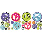 Zebra Peace Signs Wall Decal