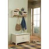 Shaker Cottage Entryway Storage Bench and Coat Hooks