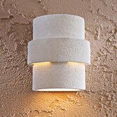 Outdoor Tiered Wall Sconce in White Ceramic