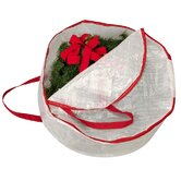 Storage and Organization 24&quot; Circular Wreath Bag with Red Trim