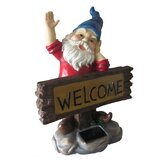 Solar Light Welcome Gnome Sign