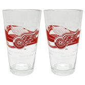 NHL Pint Glass Cup (2 Pack) - Detroit Red Wings