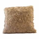 Raccoon Tail Faux Fur Pillow Cover with Chococate Brown Faux Suede Back