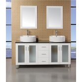 "Malibu 60"" Double Sink Modern Bathroom Vanity"