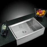 "Water Creation SS-U-3321B 33"" X 21"" Zero Radius Single Bowl Stainless Steel Hand Made Apron Front Kitchen Sink With Beveled Walls"
