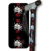 Skull and Roses Glow Handle Folding Cane