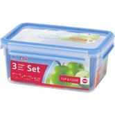 Emsa 3D Food Storage 3 Piece Clip and Close BPA Free Container Set