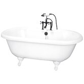 60&quot; Dual Acrylic Clawfoot Bath Tub with Rim Holes