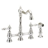 Double Handle Widespread Bridge Kitchen Faucet with Side Spray