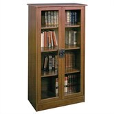 "Carina 53"" H Four Shelf Bookcase with Glass Doors in Inspired Cherry"