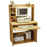 "Heirloom 36"" W Computer Cart with Hutch in Oak Veneer"
