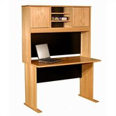 "Modular Real Oak Wood Veneer 48"" W Panel Office Computer Desk Suite"