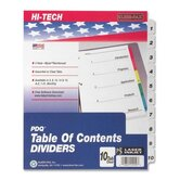 "Index Dividers, 1-10 Tabs, 3HP, 11""x8-1/2"", Black/White"