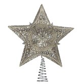 Platinum Star Tree Topper with Glitter