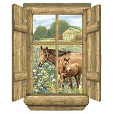 Unique Log Window Horse Peel and Stick in Multi
