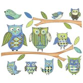 Owls Branches Pre-Pasted Accent Mural in Blue