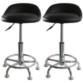 AmeriHome Padded Stool in Black (Set of 2)