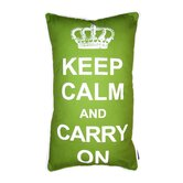 Keep Calm Pillow in White on Green